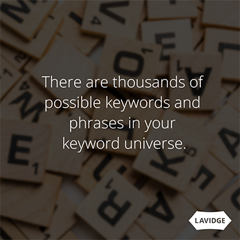 There are thousands of possible keywords and phrases in your keyword universe.