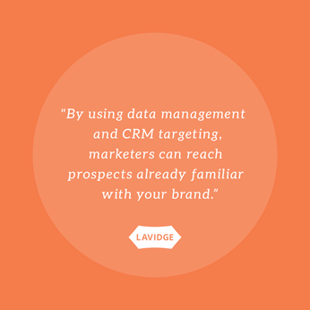 By using data management and CRM tracking, marketers can reach prospects already familiar with your brand.