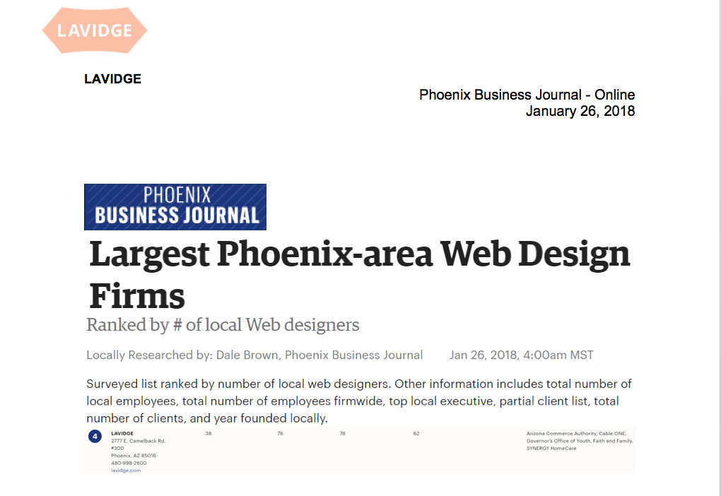 Phoenix Business Journal ranks LAVIDGE Among the Largest Phoenix area Web Design Firms