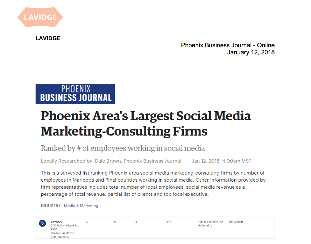 LAVIDGE named among Phoenix area's largest Social Media Marketing-Consulting Firms