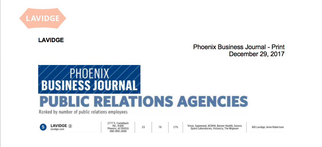 LAVIDGE ranks 5th-largest area public relations agency by Phoenix Business Journal