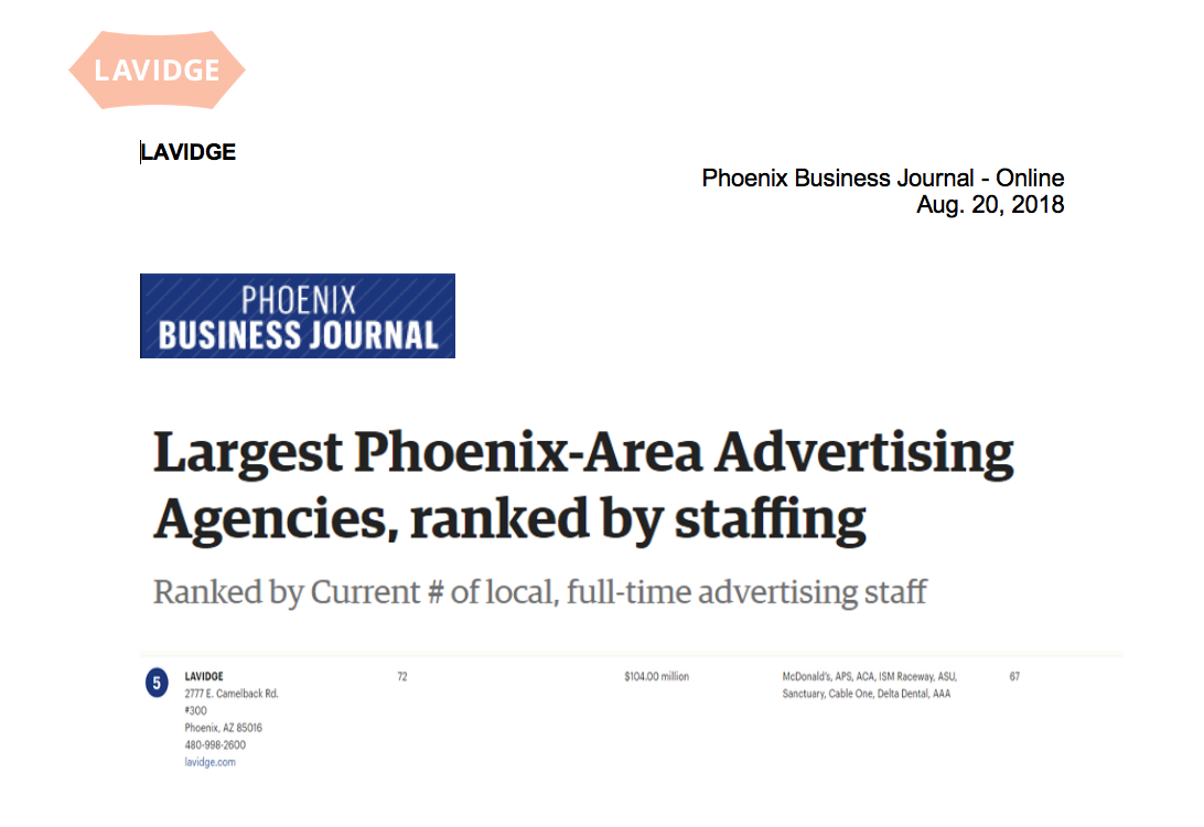 Phoenix Business Journal: Largest Phoenix-Area Advertising Agencies, ranked by staffing