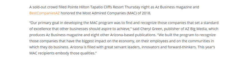 LAVIDGE honored Most Admired Companies Award by AZ Business Magazine.