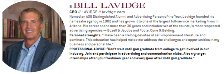 Bill Lavidge, CEO of LAVIDGE, named among top-five leaders in the Arizona advertising industry.