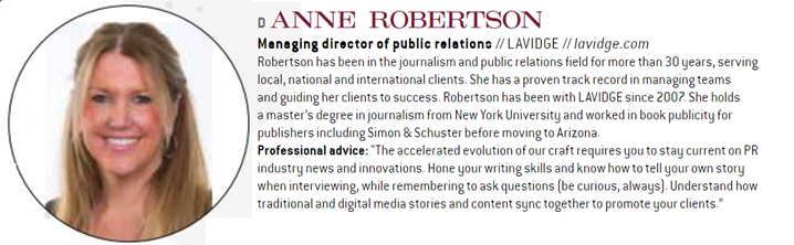 Anne Robertson, managing director of public relations, is named among top leaders in Arizona public relations.