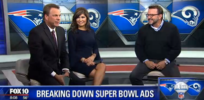 LAVIDGE Chief Creative Officer Bob Case is a guest of Ron Soon and Syleste Rodriguez on Fox10 Arizona Morning show to break down super bowl ads 2019