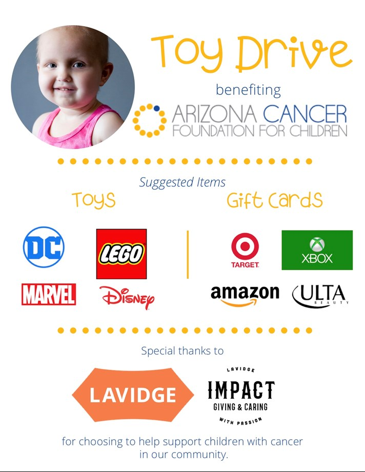 LAVIDGE IMPACT recognizes Child Cancer Awareness Month by hosting a toy drive benefiting Arizona Cancer Foundation for Children.