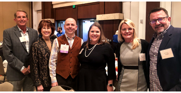 Bill Lavidge, Alicia Wadas, Stephen Heitz, Amanda Heitz, Sandra Torre and Bob Case eagerly await the announcement of the winners in this years Phoenix Business Journal's C-Suite Awards.